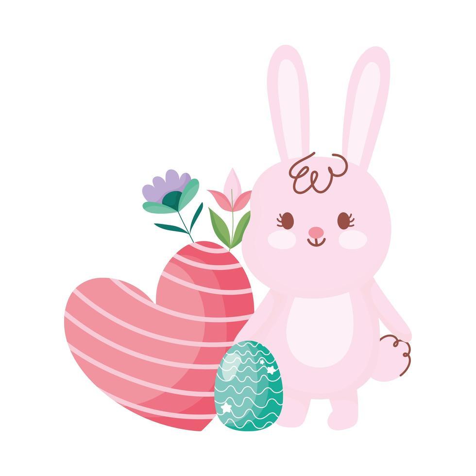joyeuses pâques lapin mignon avec coeur d'oeuf et décoration de fleurs vecteur