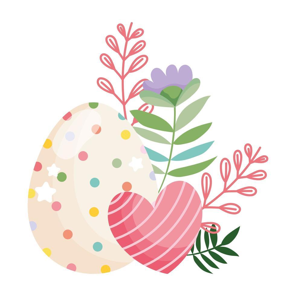 Joyeuses Pâques oeuf de beauté avec des points et décoration de fleurs coeur rayé vecteur