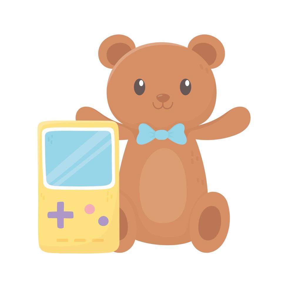 zone pour enfants, ours en peluche avec nœud papillon et jouets portables de jeux vidéo vecteur