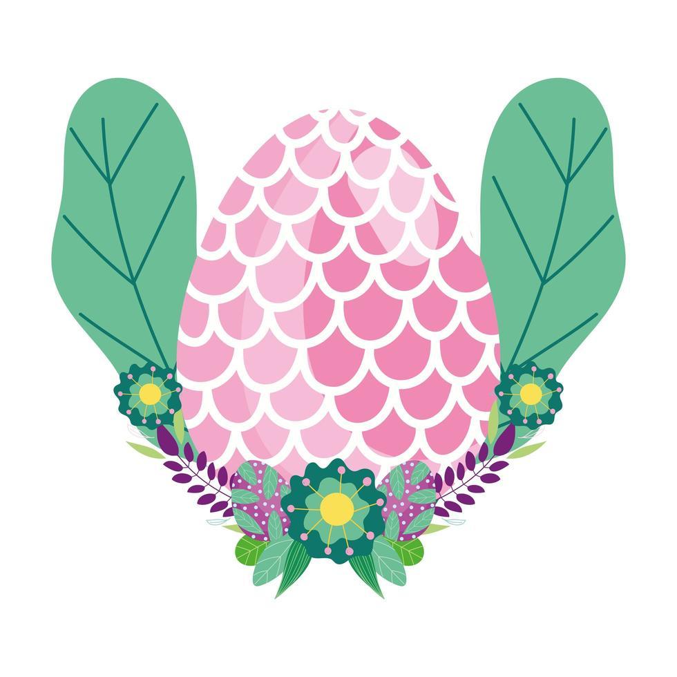 Joyeux oeuf de pâques décoré de fleurs en forme d'écailles de poisson vecteur