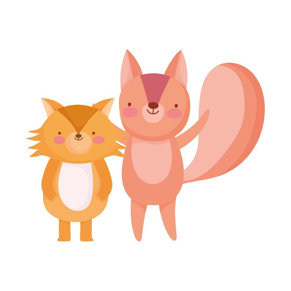 personnage de dessin animé mignon renard et écureuil vecteur