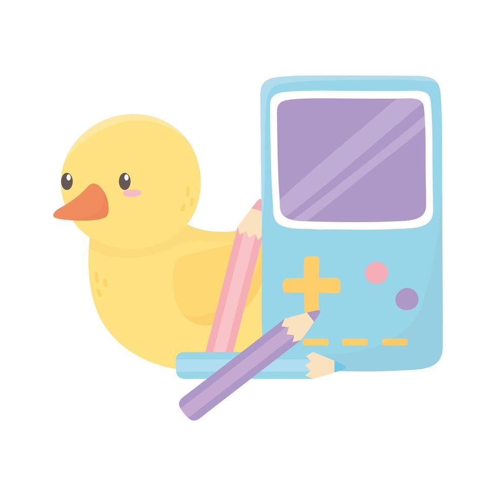 zone pour enfants, jeu vidéo de canard portable et jouets de couleur de crayons vecteur