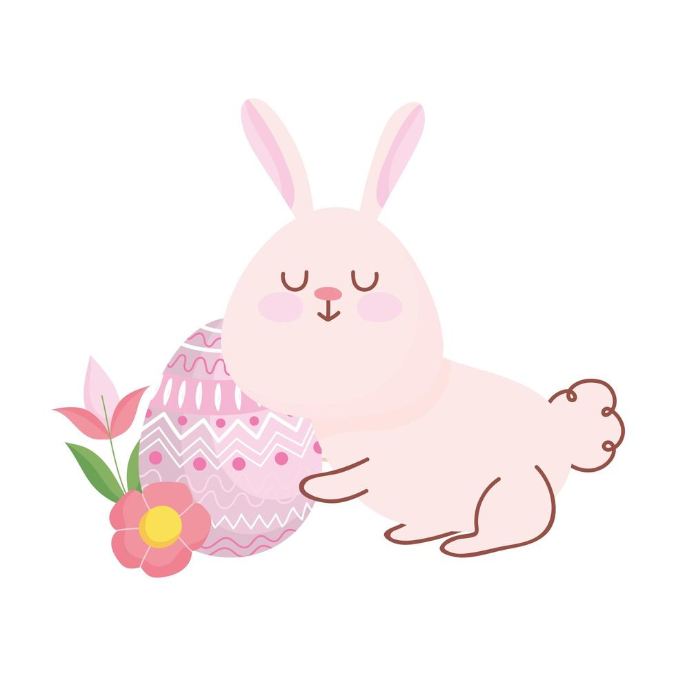joyeuses pâques lapin mignon avec décoration de fleurs et oeufs vecteur