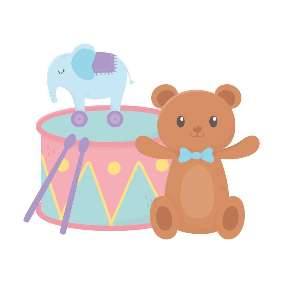 zone pour enfants, jouets de dessin animé de tambour d'éléphant d'ours en peluche vecteur
