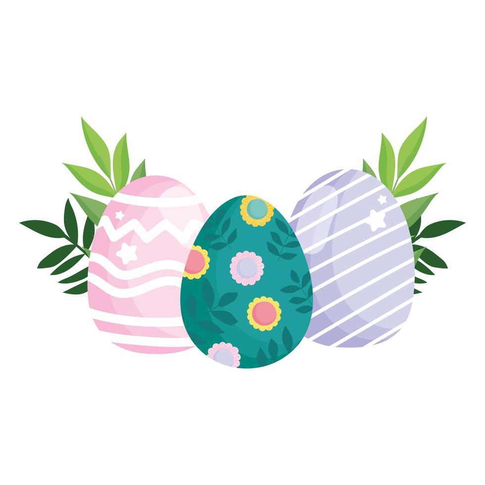 Joyeuses Pâques oeufs mignons peinture avec des lignes géométriques de fleurs vecteur