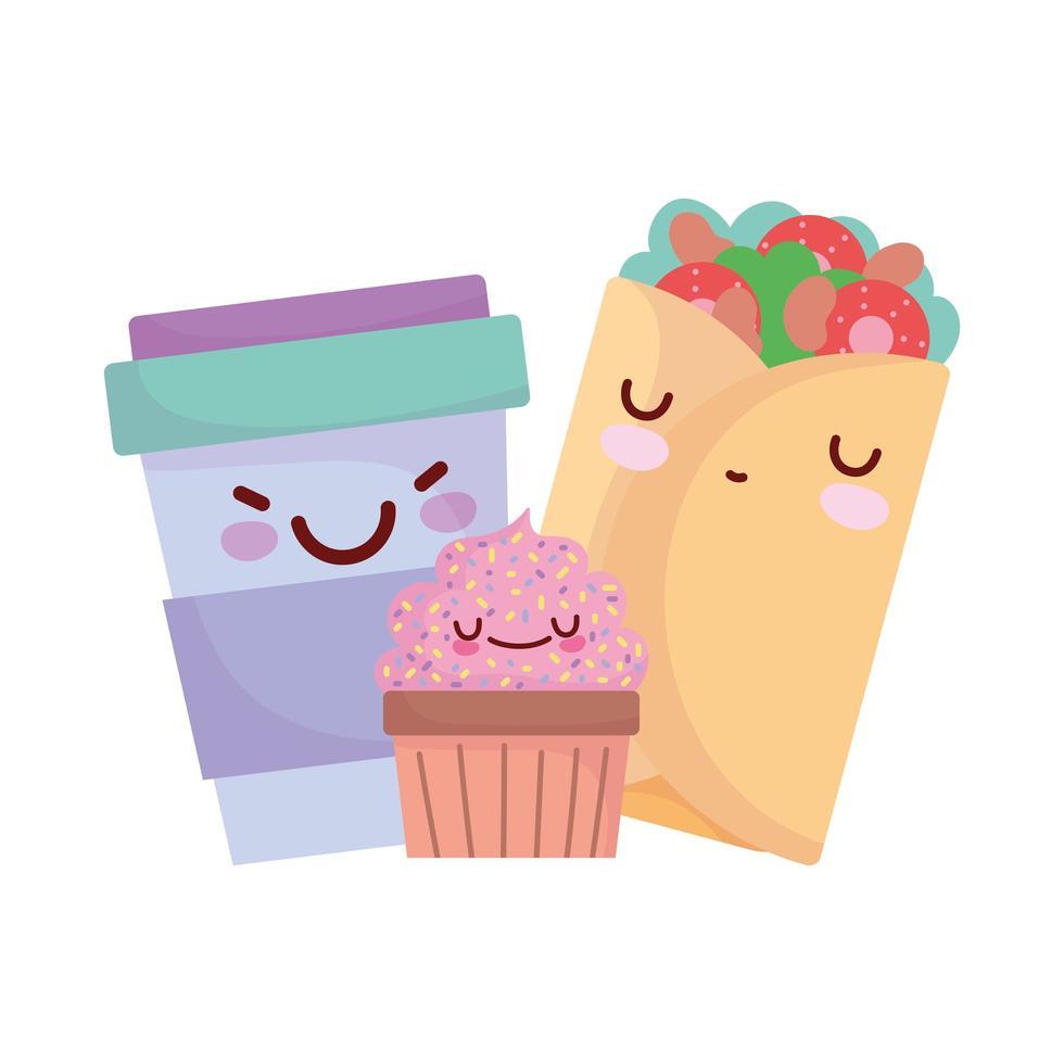 burrito cupcake smoothie cup menu personnage dessin animé nourriture mignon vecteur