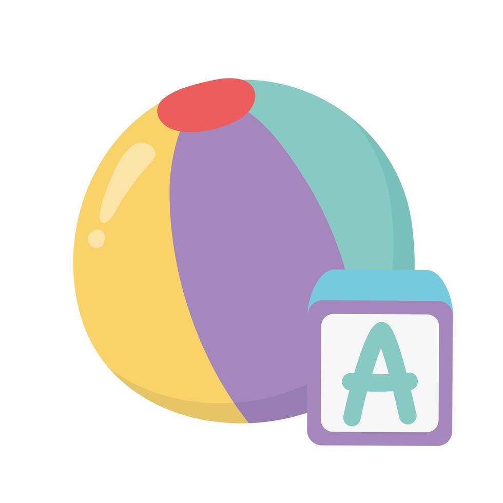 zone pour enfants, bloc alphabet jouets et dessin animé de balle vecteur