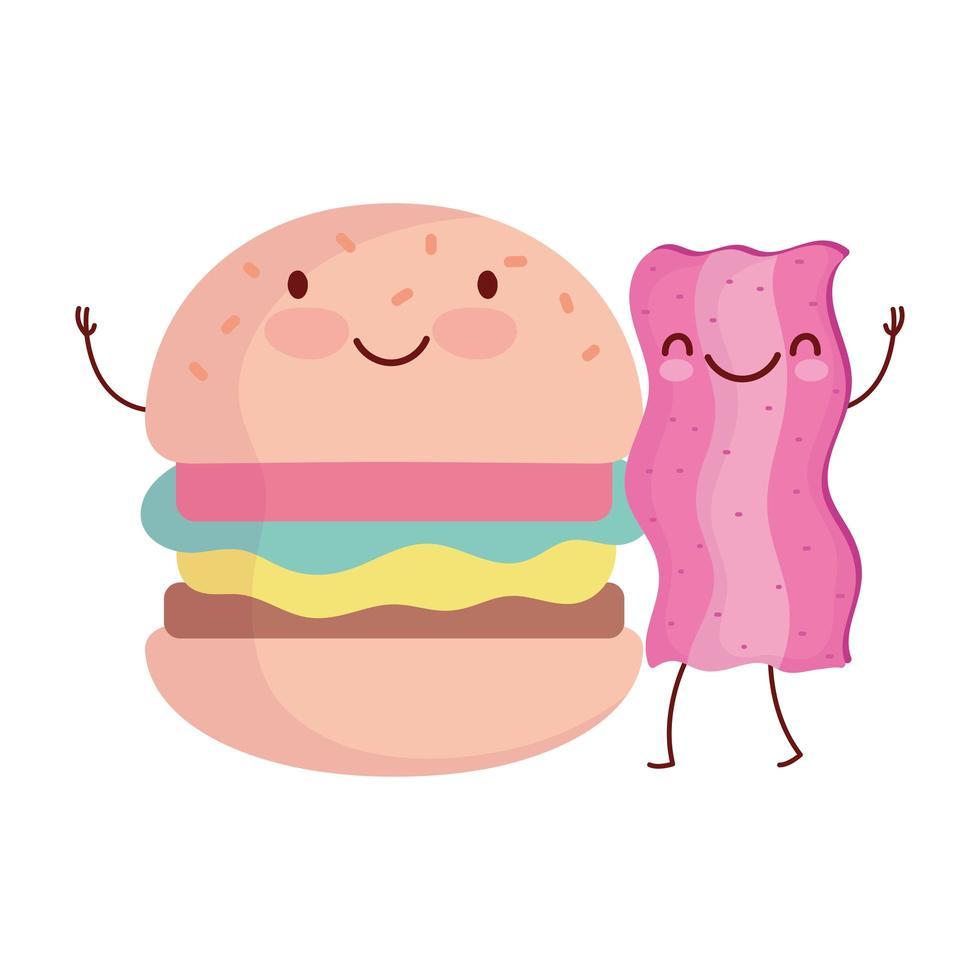 burger et bacon menu personnage dessin animé nourriture mignon vecteur