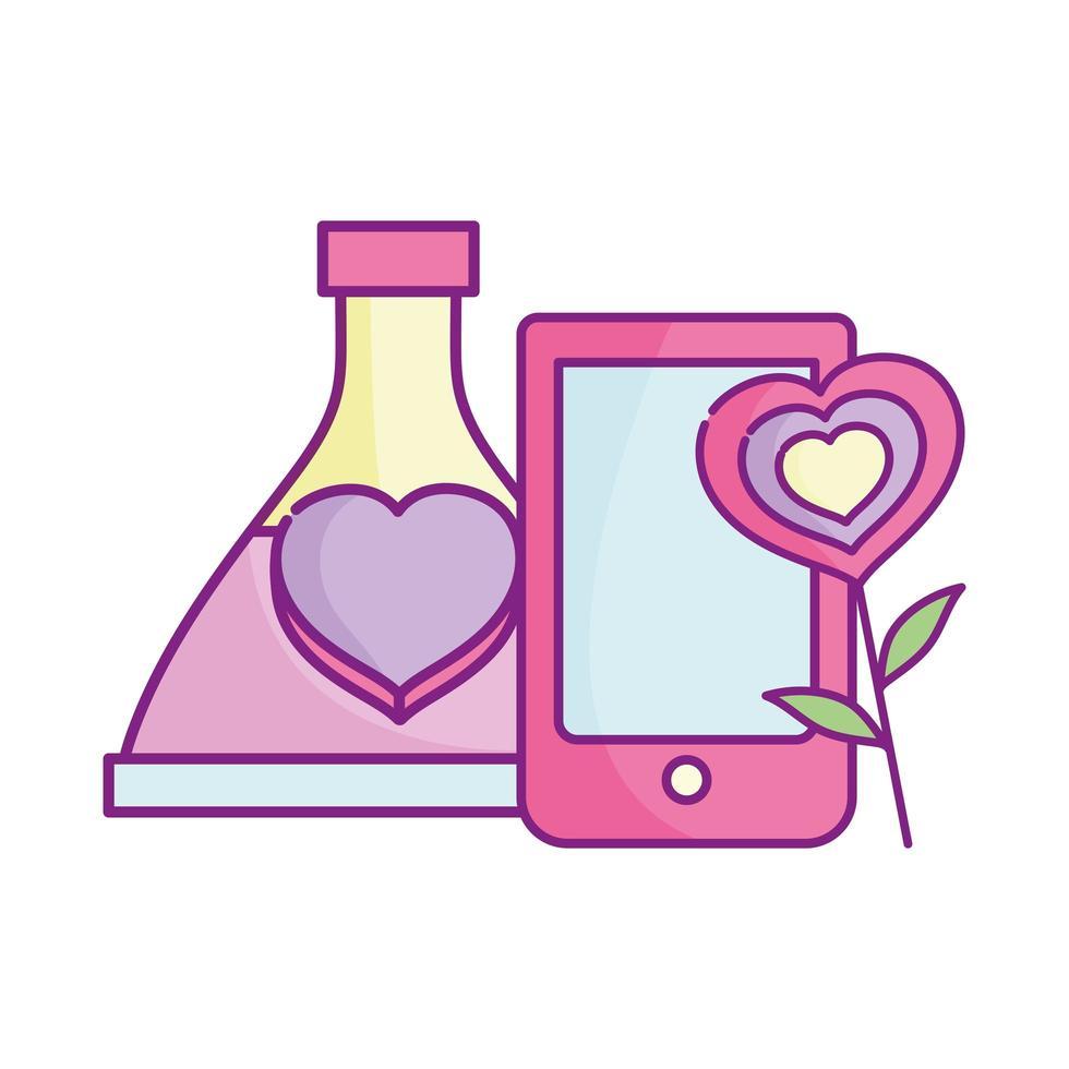 bonne saint valentin, bouteille d'amour de smartphone et coeur de fleur vecteur