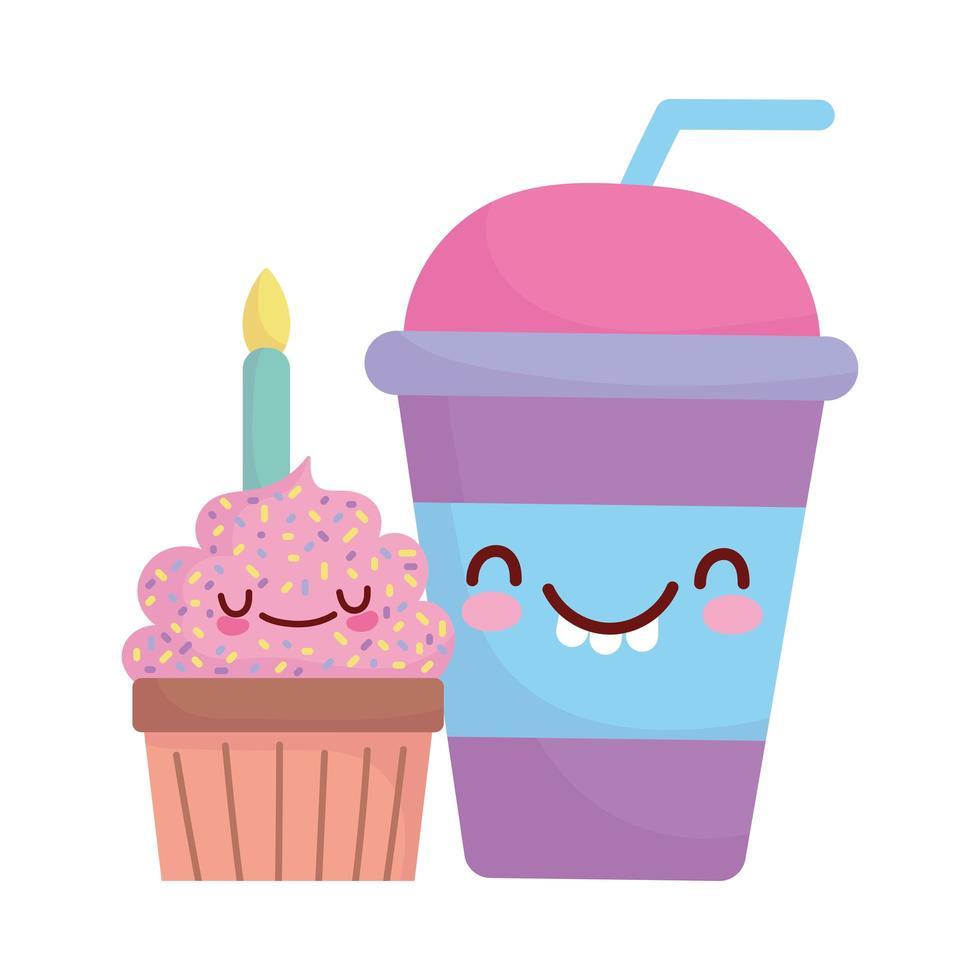 cupcake avec bougie tasse menu personnage dessin animé nourriture mignon vecteur