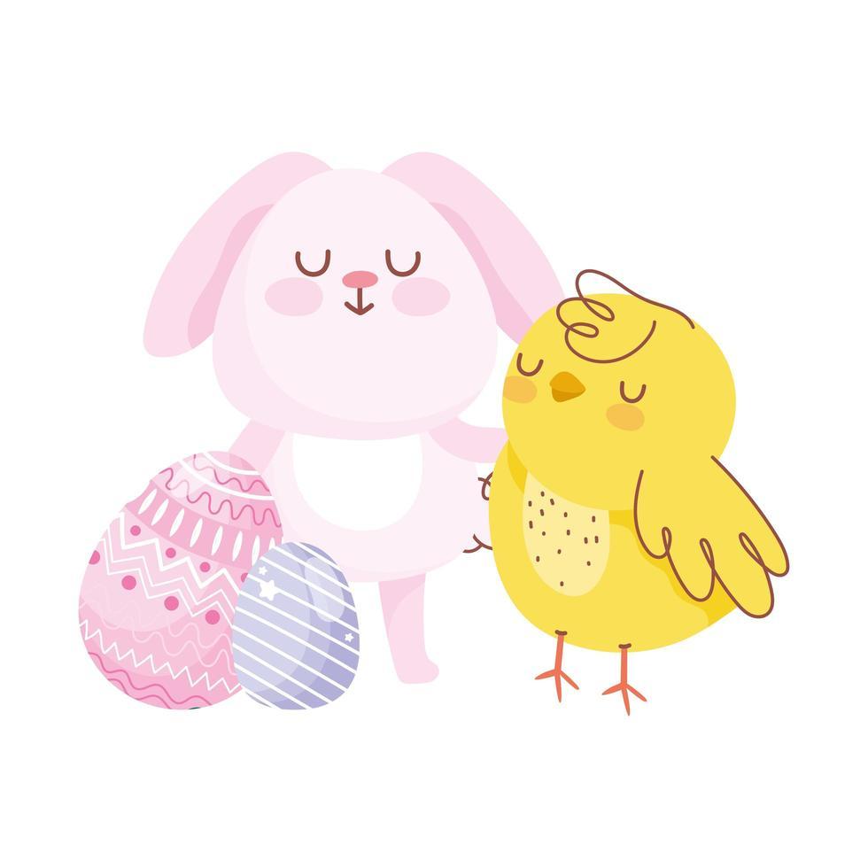 décoration d'oeufs de poulet lapin rose joyeuses pâques vecteur