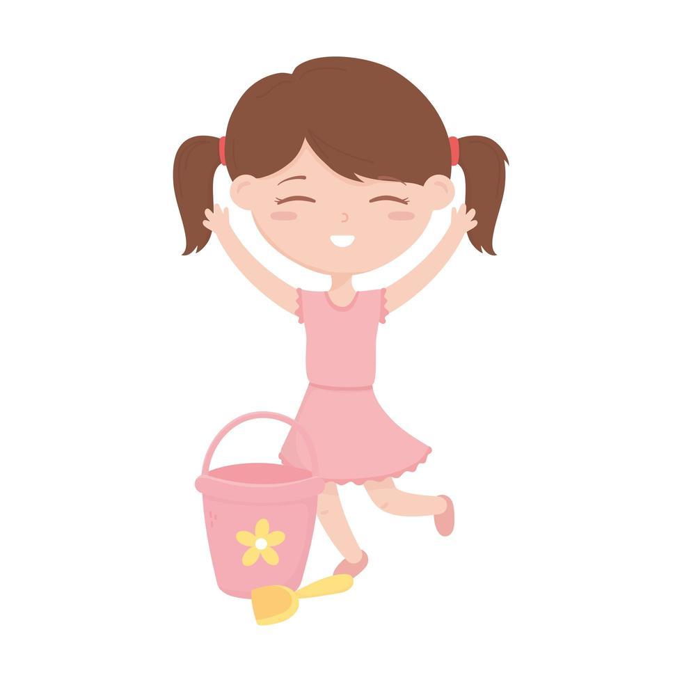 zone enfants, mignonne petite fille avec seau jouet et dessin animé de pelle vecteur