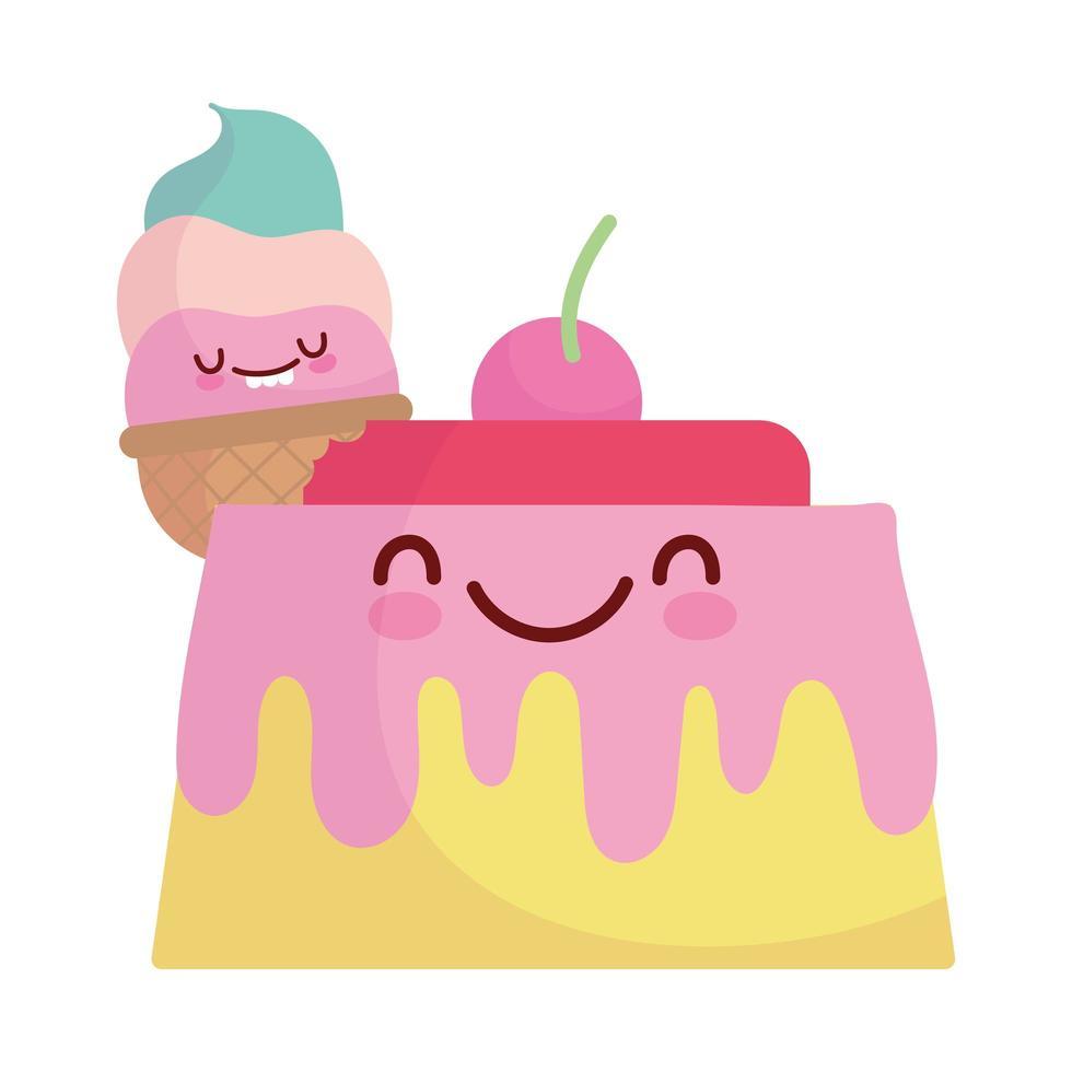 gelée et crème glacée menu personnage dessin animé nourriture mignon vecteur