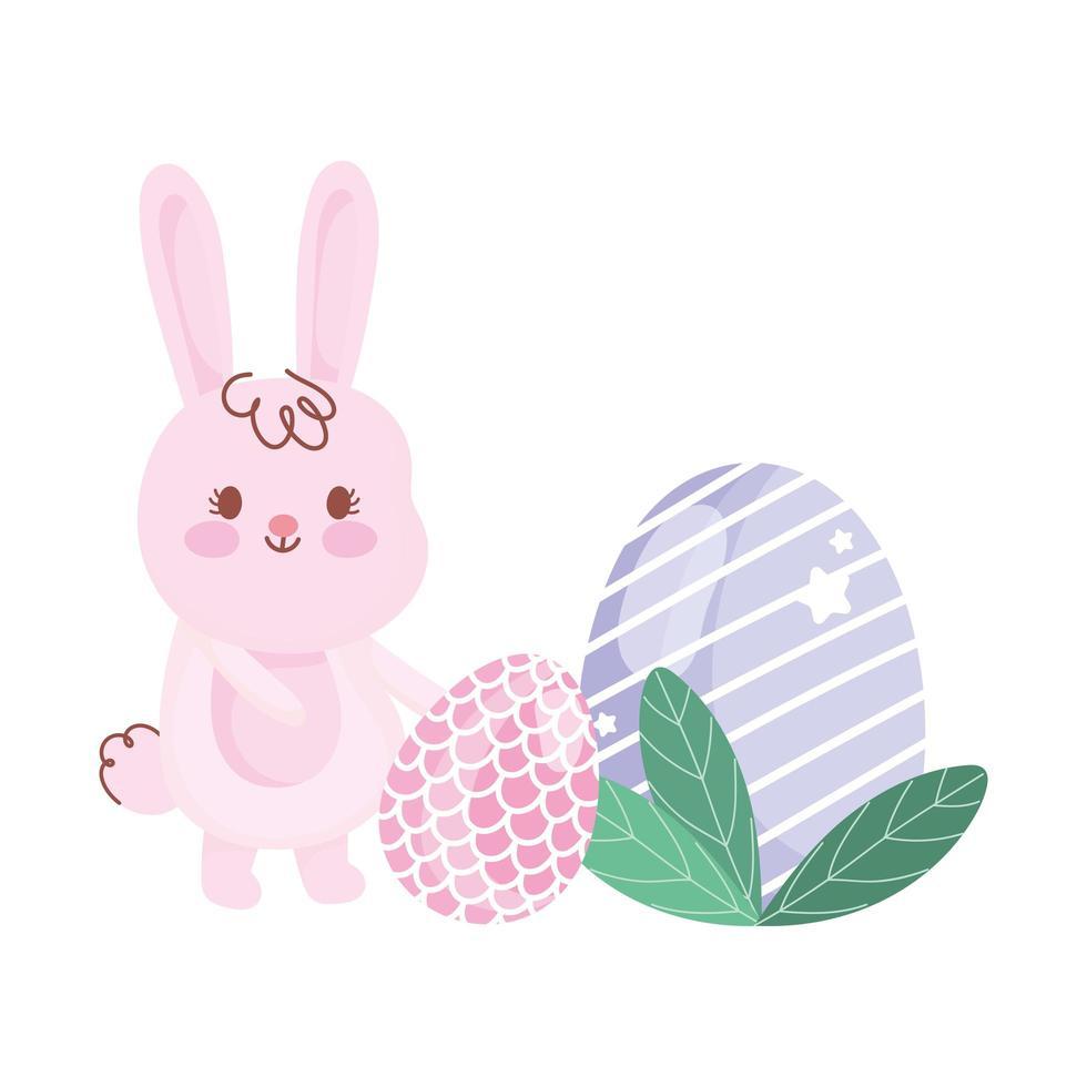 joyeux jour de Pâques lapin avec dessin animé décoration oeufs vecteur