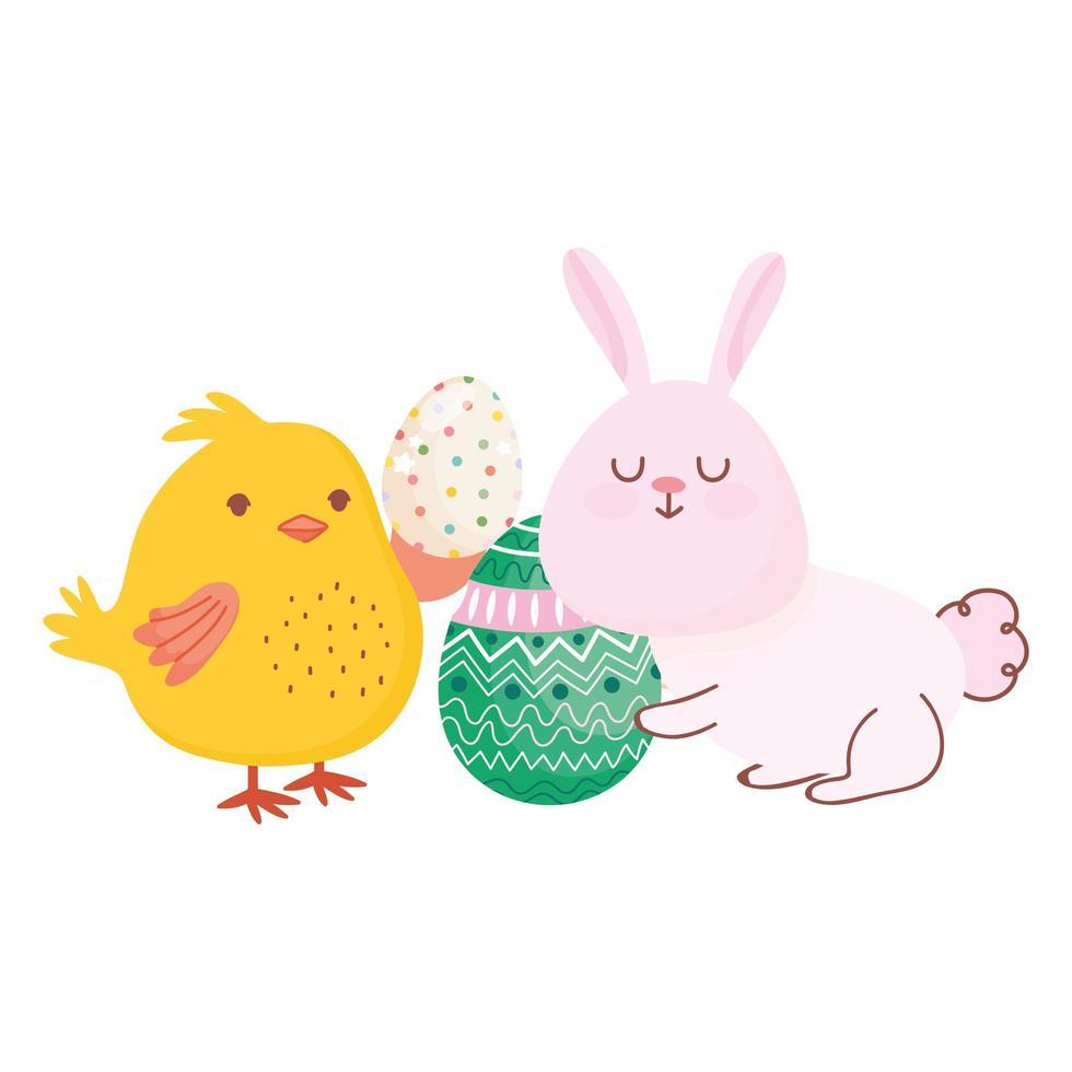 joyeuses pâques lapin et poulet aux oeufs saison de célébration vecteur