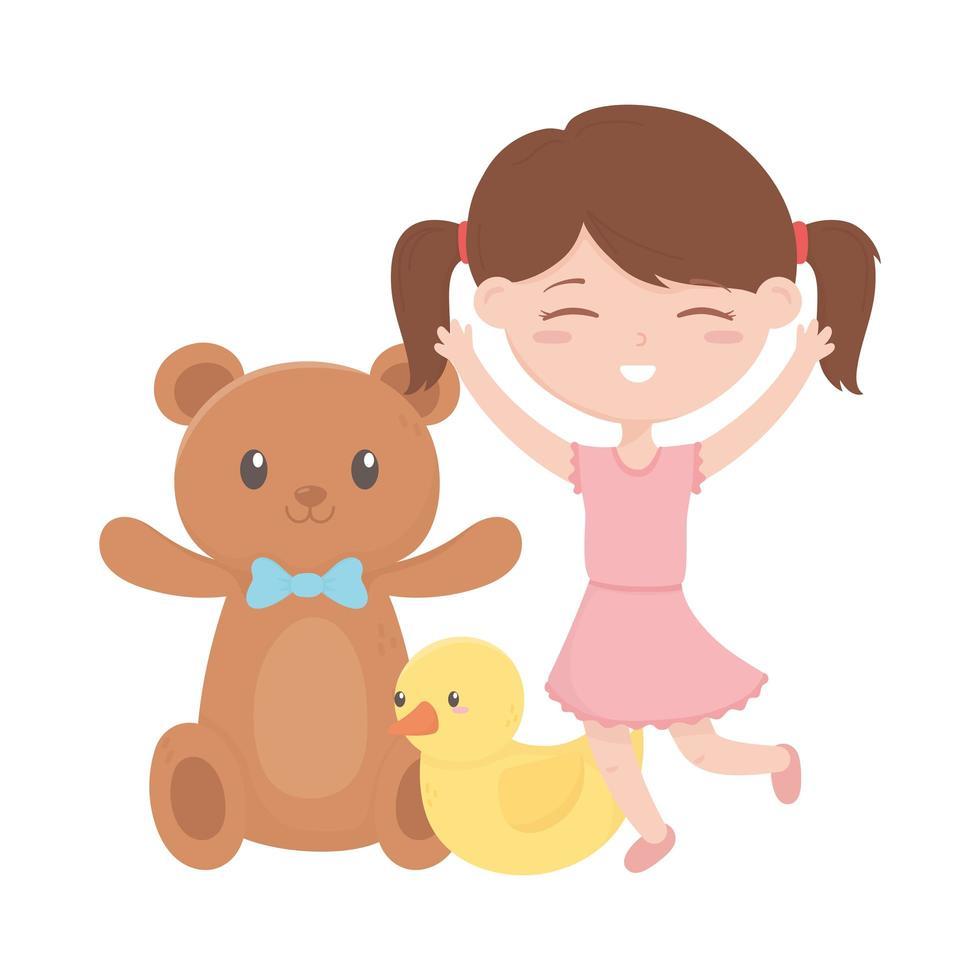 zone enfants, mignon petite fille en caoutchouc canard ours en peluche jouets vecteur