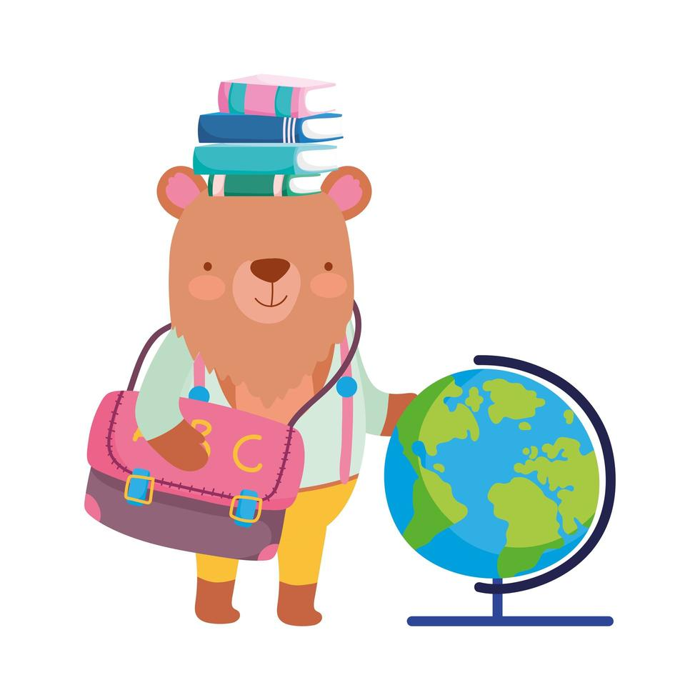 retour à l'école, ours livres globe carte sac à dos dessin animé vecteur