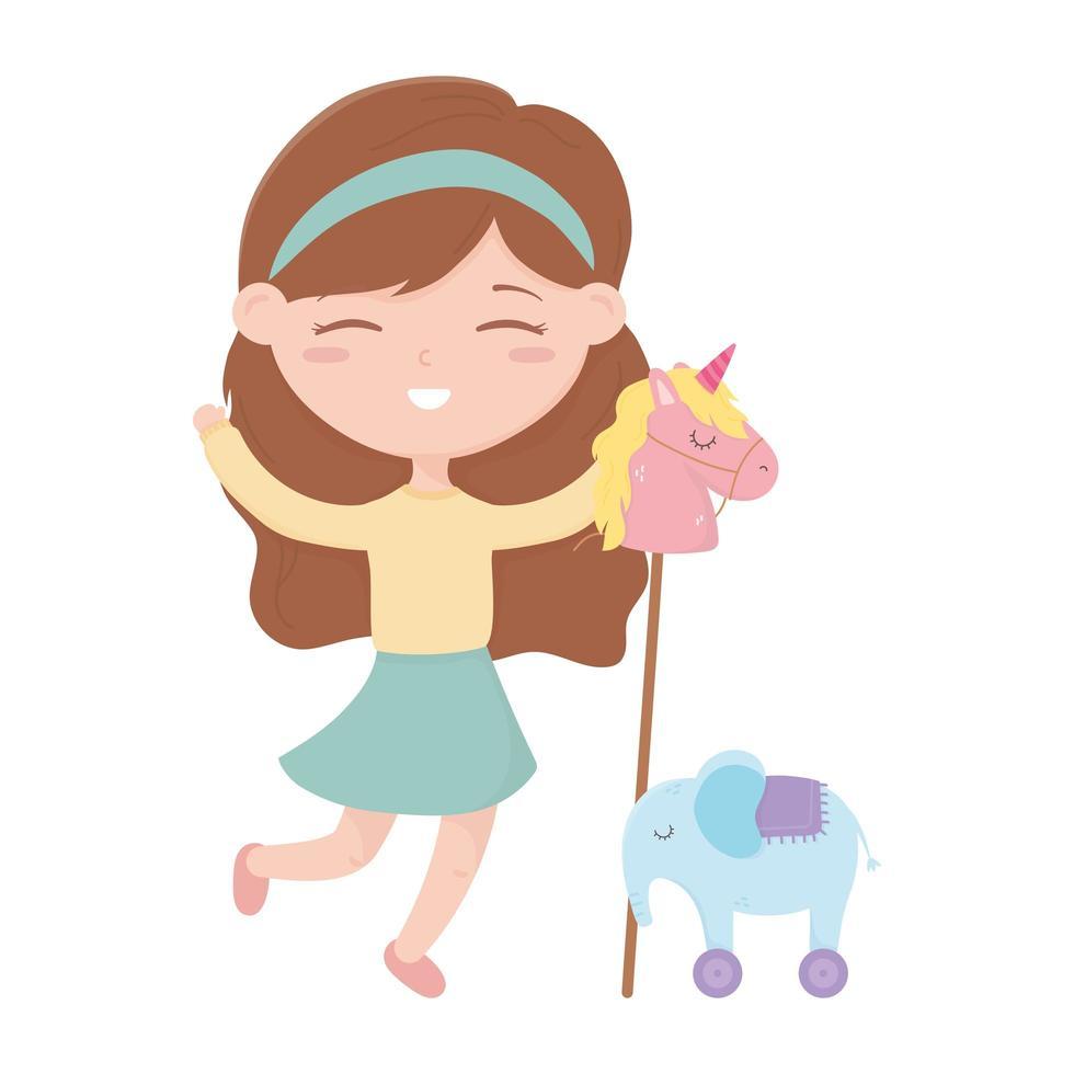 zone enfants, jolie petite fille avec des jouets de cheval et d'éléphant vecteur