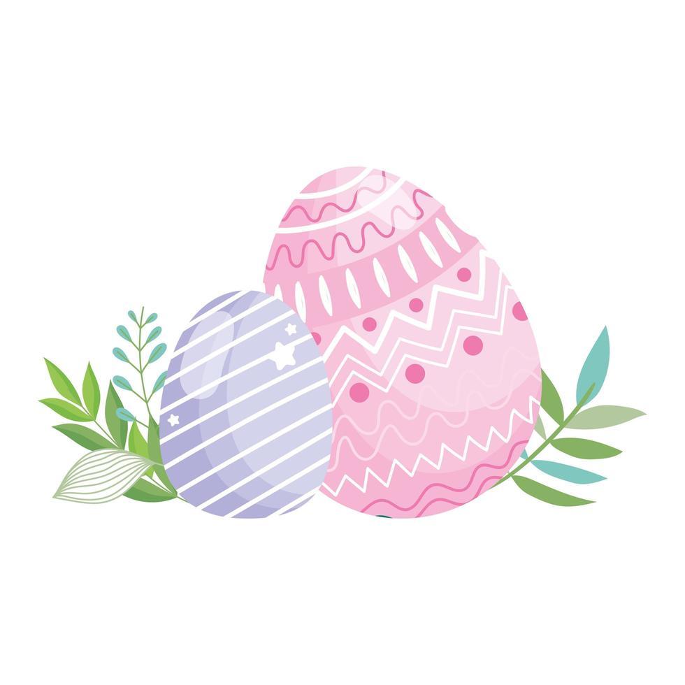 Joyeuses Pâques rose et violet oeufs décoration feuillage vecteur