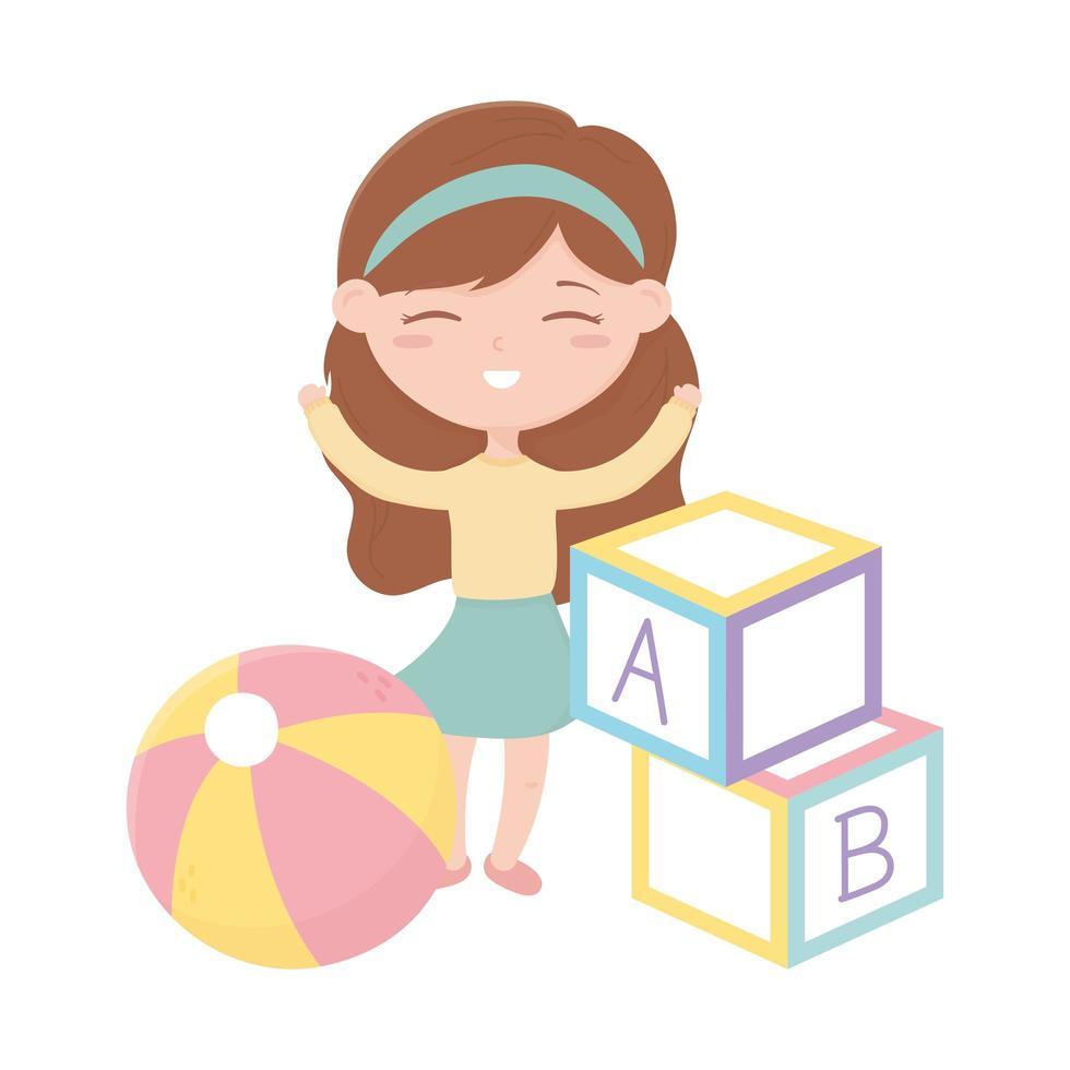 zone enfants, jolie petite fille avec des bocks abc et des jouets de balle vecteur