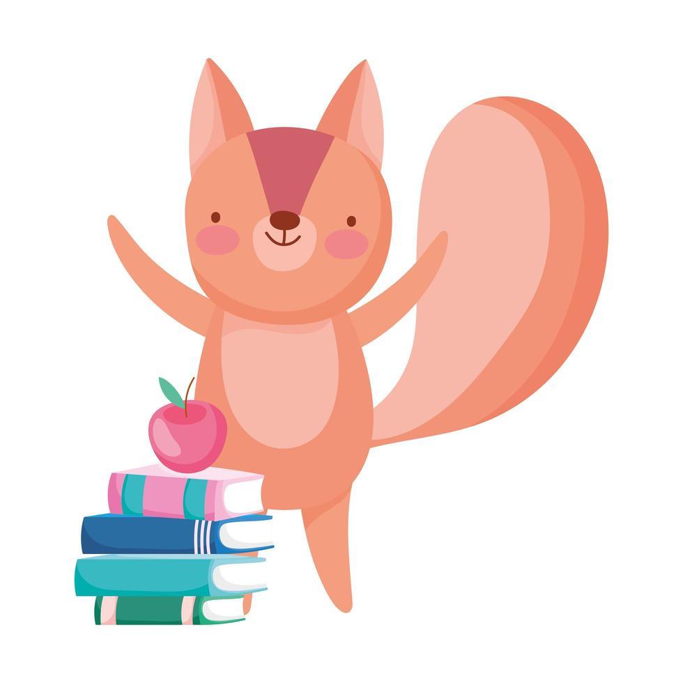 retour à l école, livres d écureuil et dessin animé de pomme vecteur