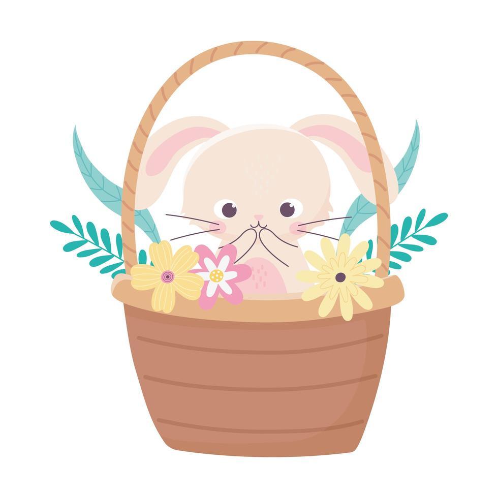 joyeuses pâques, lapin mignon dans le panier fleurs feuillage nature vecteur
