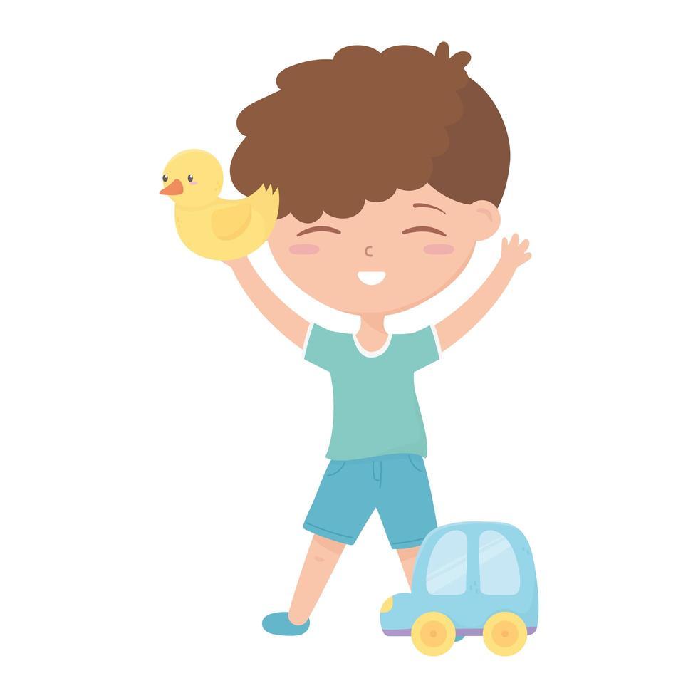 zone pour enfants, mignon petit canard en caoutchouc garçon et jouets de voiture vecteur
