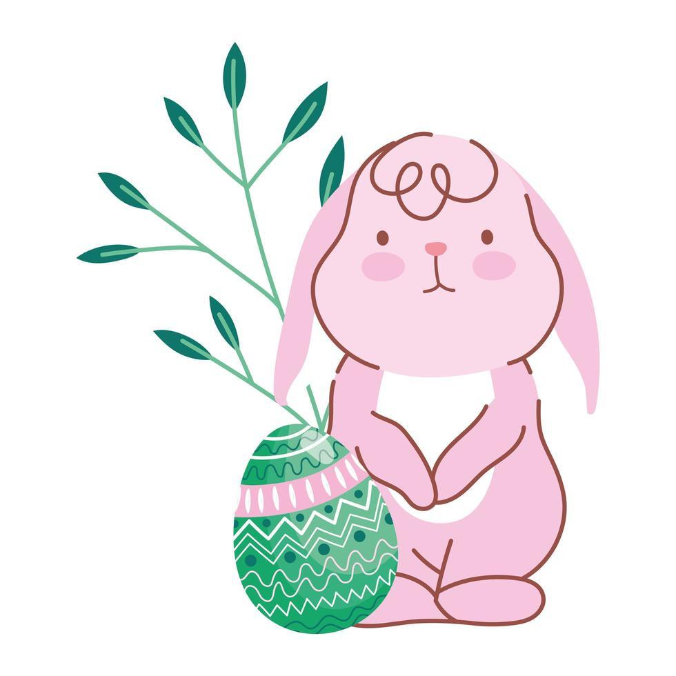 joyeuses pâques petit lapin avec des œufs décoratifs feuilles de la nature vecteur