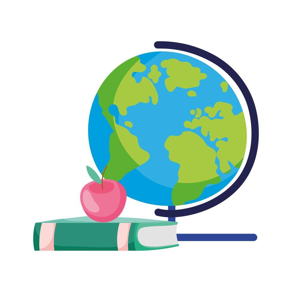 retour à lécole globe livre fournitures apple cartoon vecteur