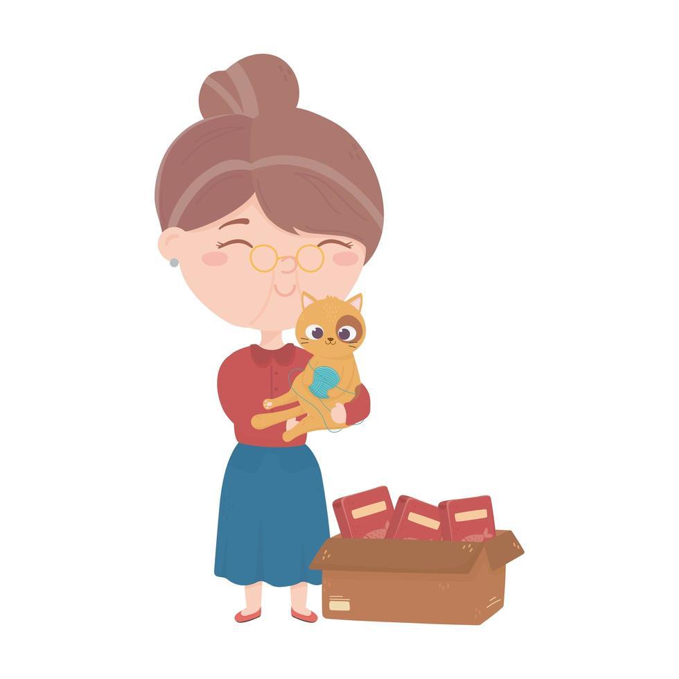 Les chats me rendent heureux, vieille femme portant un chat avec de la nourriture pour balles vecteur