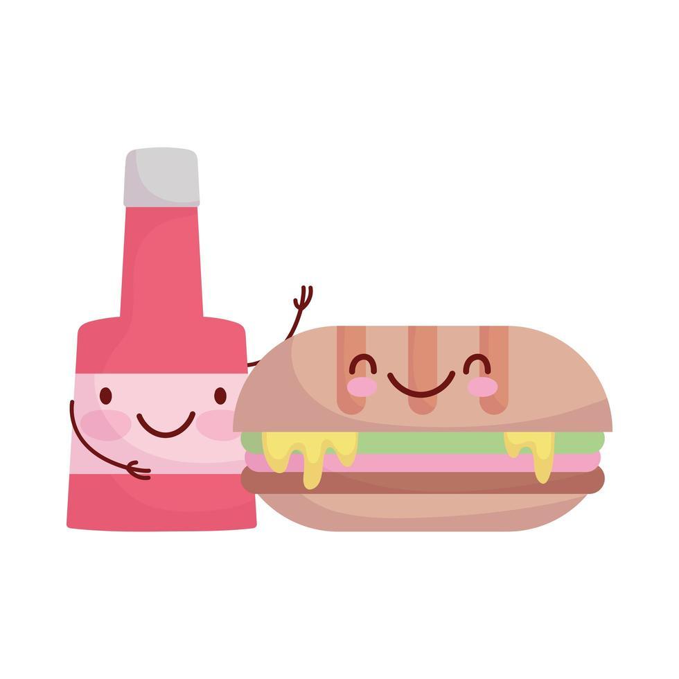 nourriture de dessin animé de caractère bouteille sandwich et sauce vecteur
