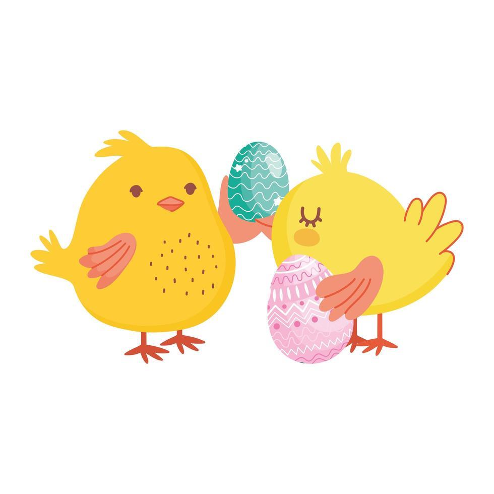 joyeuses fêtes de Pâques, poulets mignons avec fête de décoration d'oeufs vecteur