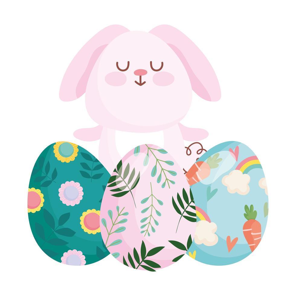 joyeuses pâques lapin mignon avec des oeufs peints vecteur