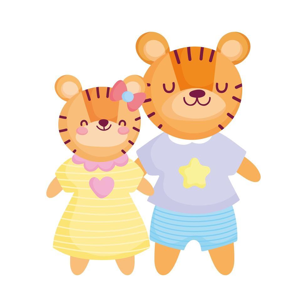 retour à l & # 39; école, enfants mignons de tigres avec dessin animé de vêtements vecteur