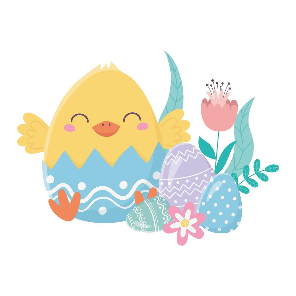 bonne fête de pâques, coquille d'oeuf de poulet avec des oeufs de fleurs vecteur