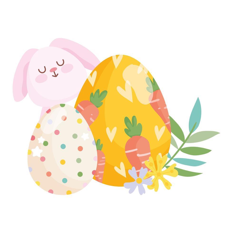 Joyeuses Pâques oeuf de lapin peint avec des carottes et décoration de fleurs d'oeufs en pointillés vecteur
