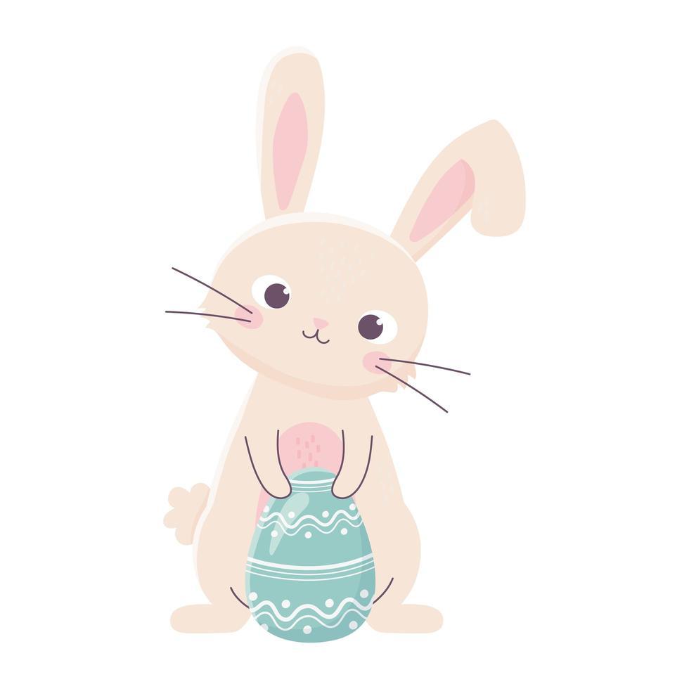 joyeuses pâques lapin mignon avec célébration de décoration d'oeuf vecteur