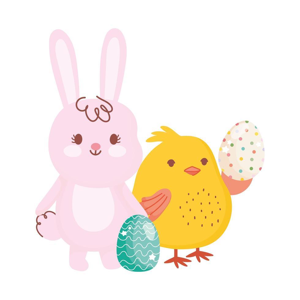 joyeuses pâques lapin mignon avec des oeufs vecteur