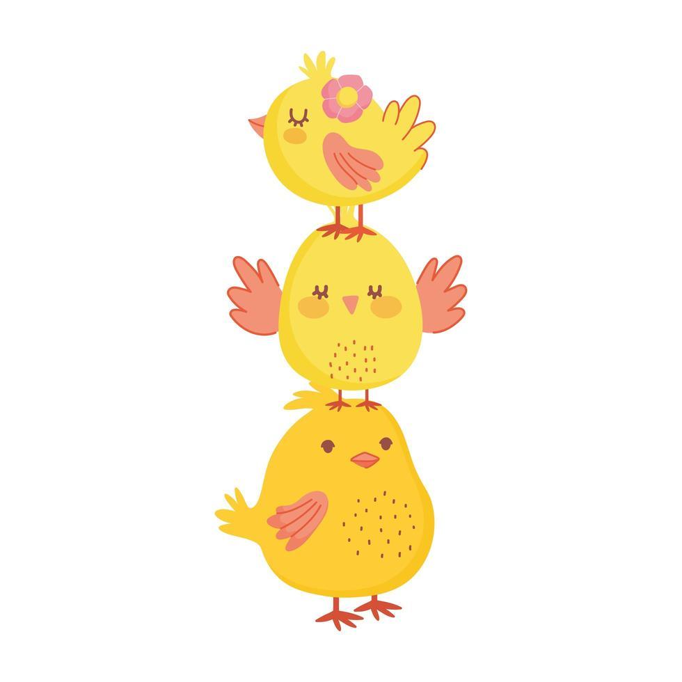joyeuses pâques mignon tas de poulets décoration de dessin animé de fleurs vecteur