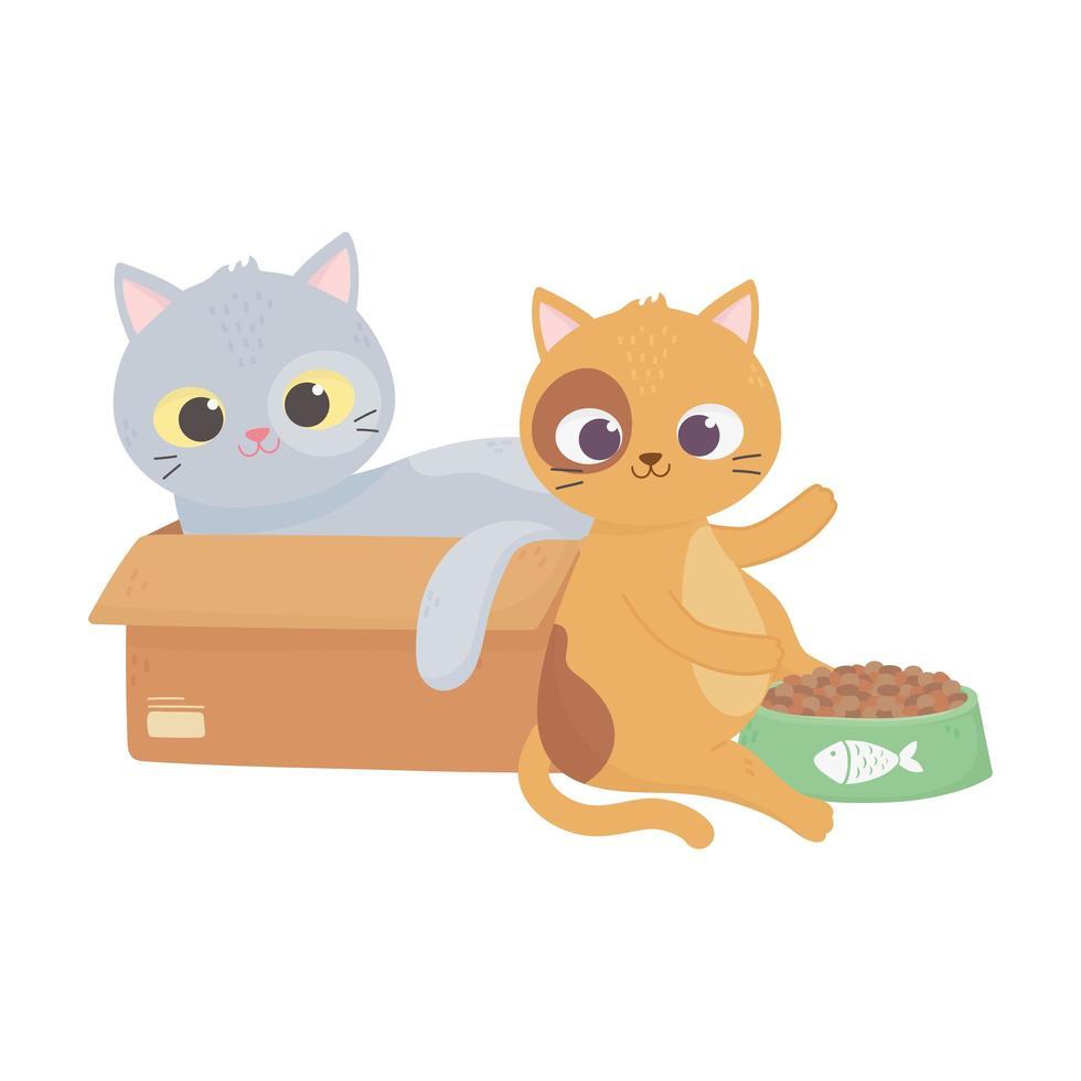 les chats me rendent heureux, chat en boîte et autre avec un dessin animé de nourriture vecteur