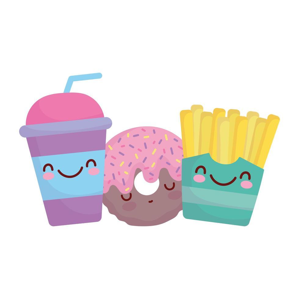 frites beignet et gobelet jetable menu personnage dessin animé nourriture mignon vecteur