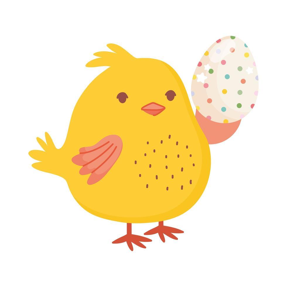 joyeuses pâques, poulet mignon tenant décoration d'oeuf en point vecteur