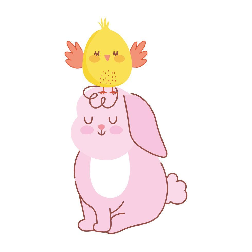 Joyeuses Pâques lapin rose assis avec du poulet dans la décoration de la tête vecteur