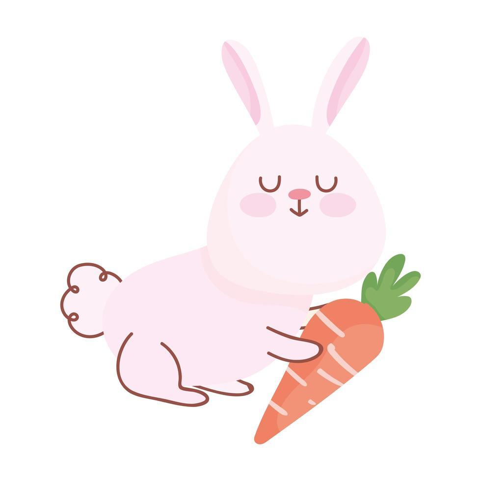 joyeuses pâques, lapin mignon avec carotte vecteur