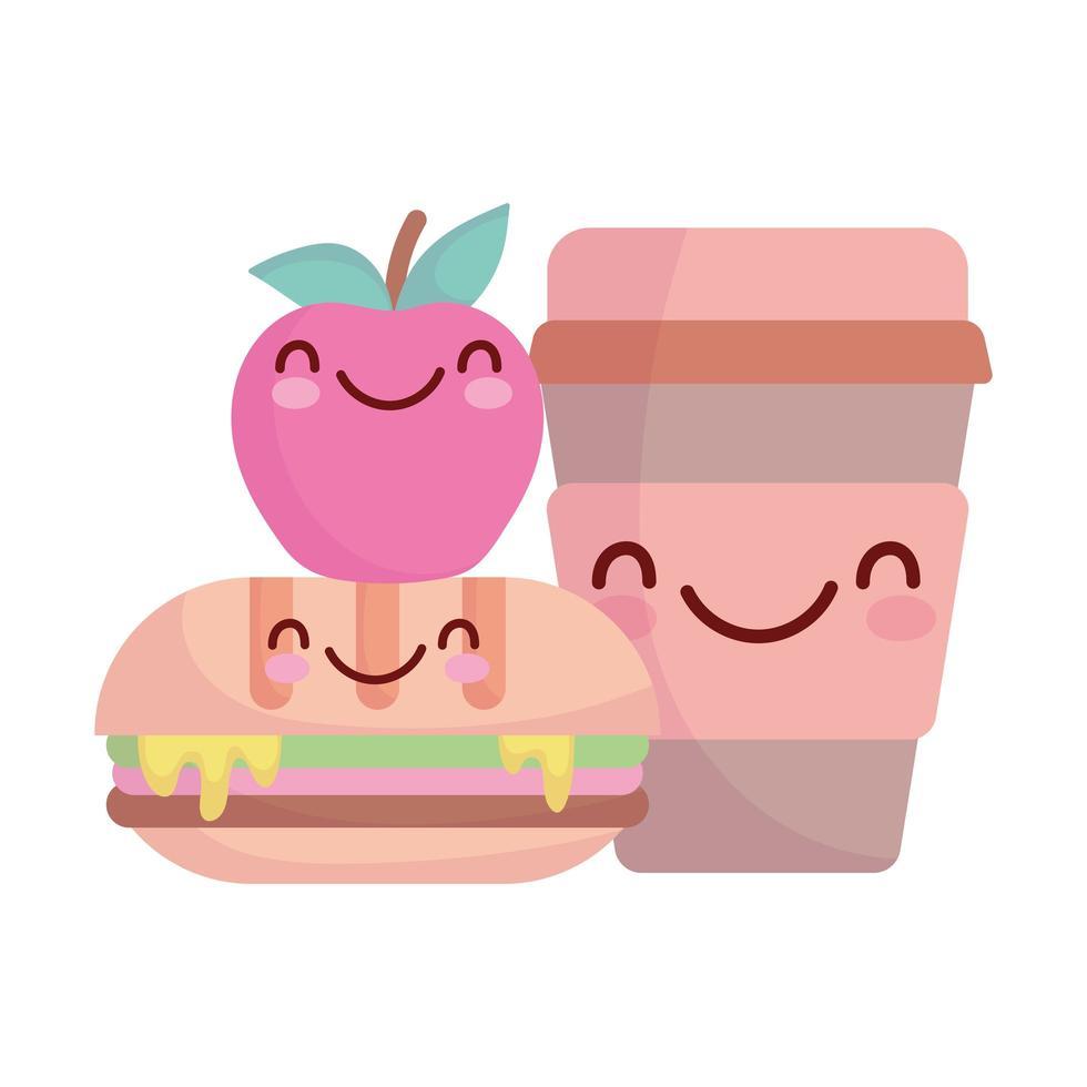 sandwich pomme et tasse menu personnage dessin animé nourriture mignon vecteur