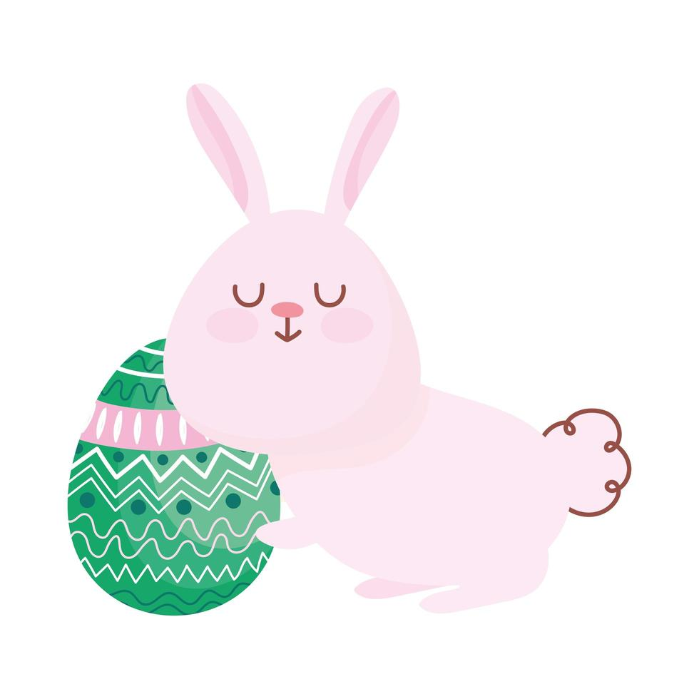 joyeuses pâques, lapin mignon avec ornement de décoration d'oeuf vecteur