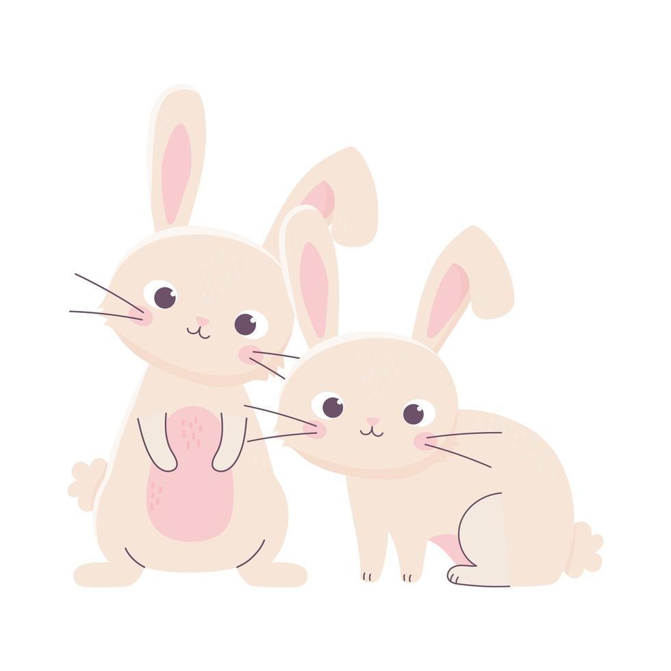 joyeuses pâques, personnage de dessin animé mignon lapins vecteur