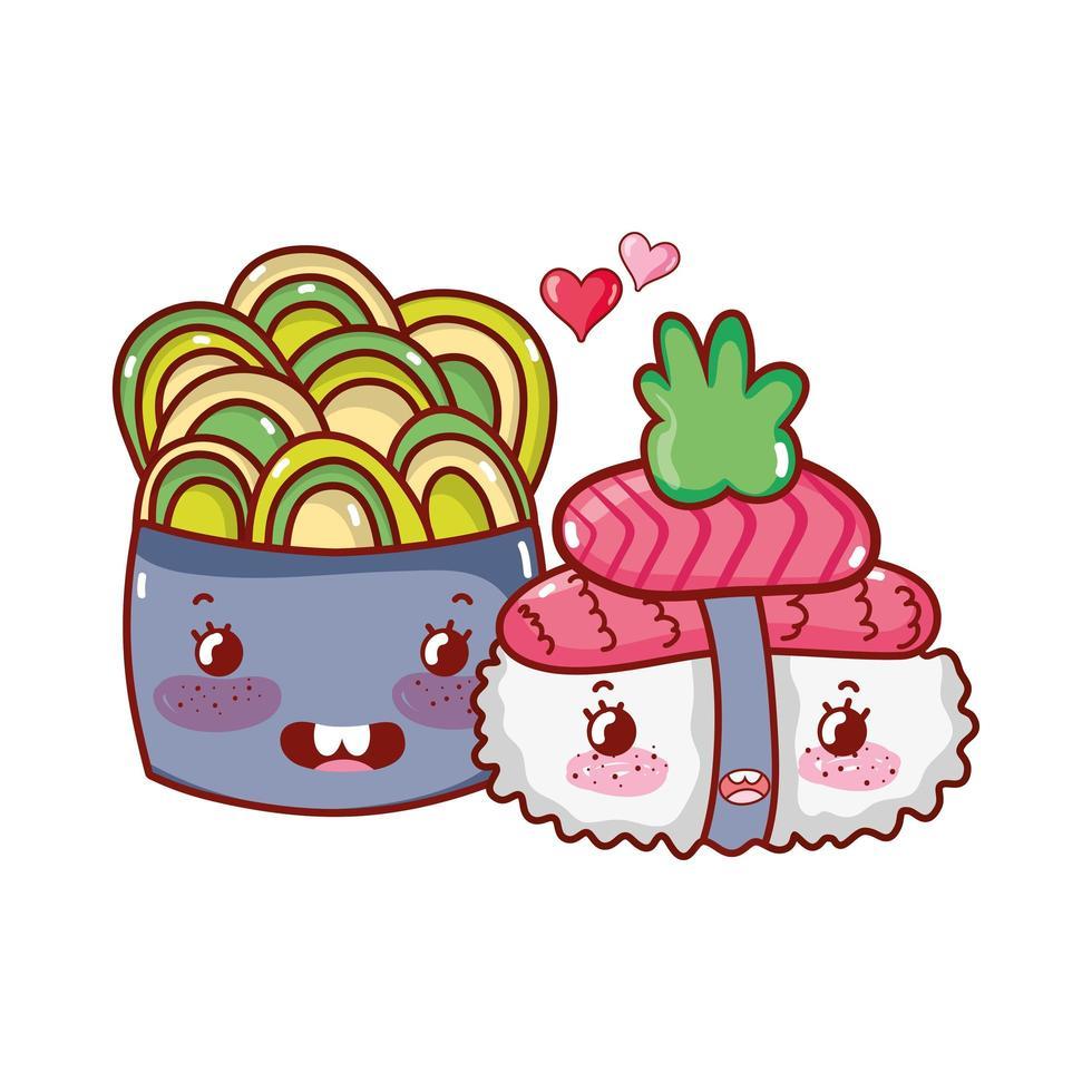 kawaii sushi et salade saumon wasabi nourriture dessin animé japonais, sushi et rouleaux vecteur