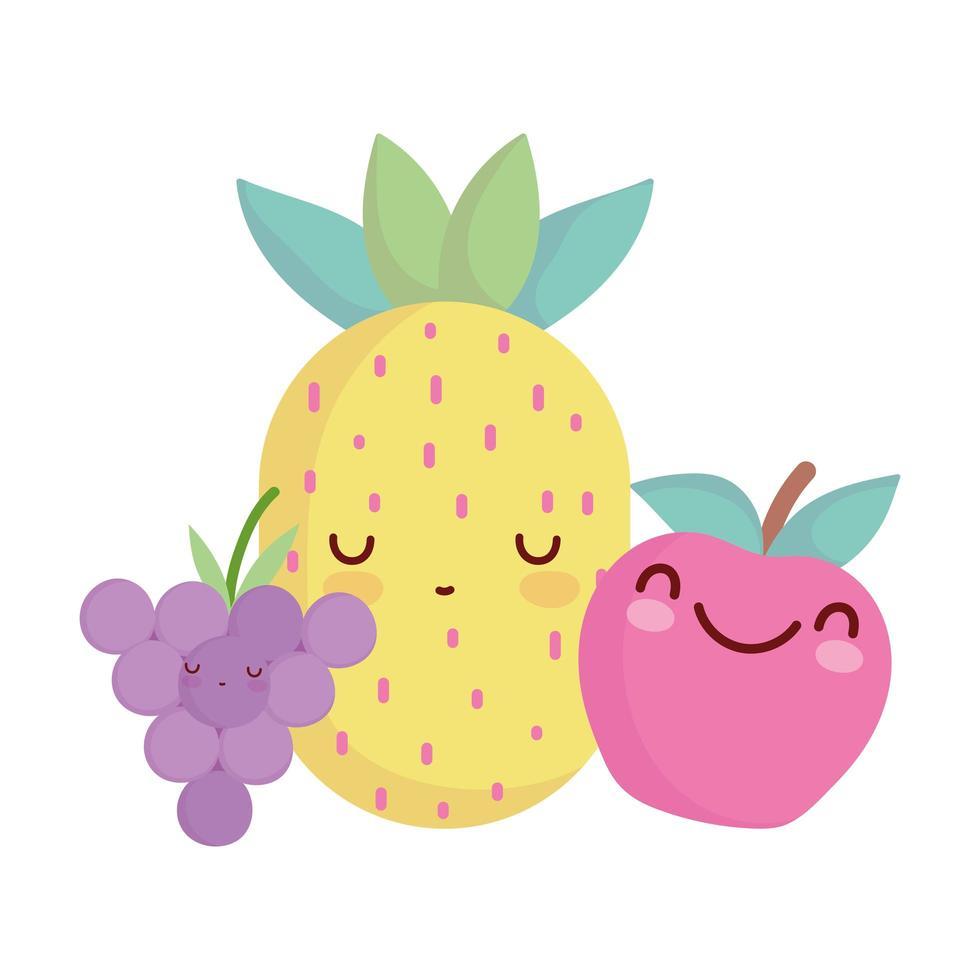 ananas orange et raisins menu personnage dessin animé nourriture mignon vecteur