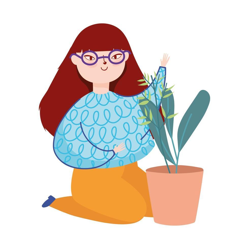 jeune femme sur les genoux avec plante en pot vecteur